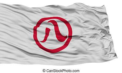 Isolated Nagoya Flag, Capital of Japan Prefecture, Waving on...