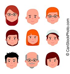 Avatar icons. People generations at different ages. Woman...
