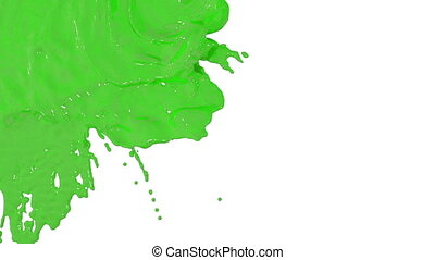 stream of green paint falling on white background - screen and dripping down over white. 3d render with alpha mask for background, transition or overlays. Version 6