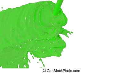 stream of green paint falling on white background - screen and dripping down over white. 3d render with alpha mask for background, transition or overlays. Version 5