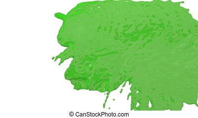 stream of green paint falling on white background - screen and dripping down over white. 3d render with alpha mask for background, transition or overlays. Version 4