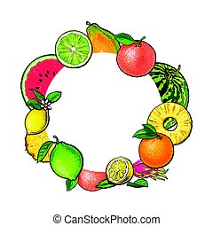Round frame of tropical fruits with empty place for text