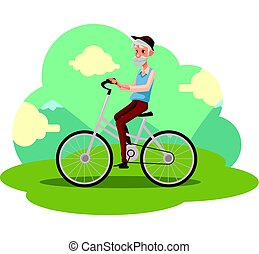 Old man in vest and hat riding a bicycle, cycling