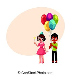 Black boy with balloons and caucasian girl in birthday cap