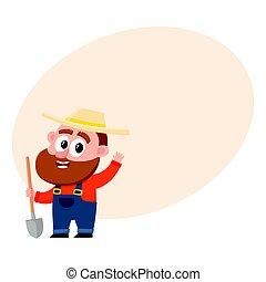 Funny farmer, gardener character, holding shovel, waving hello, greeting