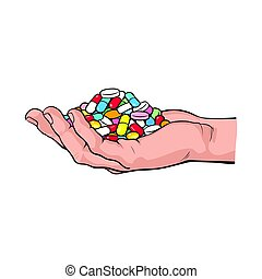 Side view hand holding pile, handful of pills, tablets,...
