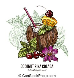 Coconut Pina Colada with orchid flower, vector illustration,...