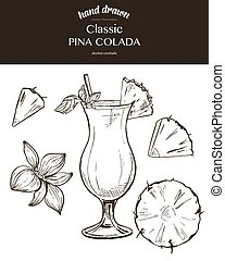 Pina Colada. Vector sketch illustration of cocktails. Hand...
