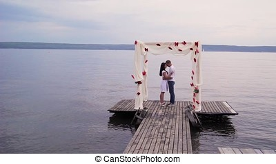 couple in love near the water