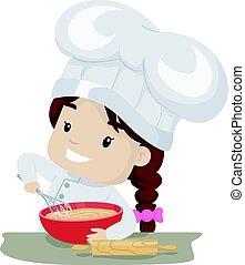 Little Girl whisking Flour - Vector Illustration of Little...