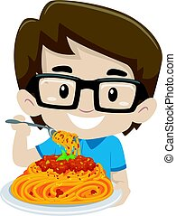 Kid Boy Eating Spaghetti
