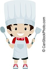 Kid Boy as Chef Holding a Holding Kitchen Utensils - Vector...