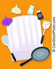 Chef Hats with Kitchen Elements - Vector Illustration of...