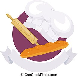 Baking Elements Icon with Ribbon Label - Vector Illustration...