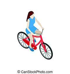 Female cyclist riding on a bicycle. Flat 3d isometric vector illustration