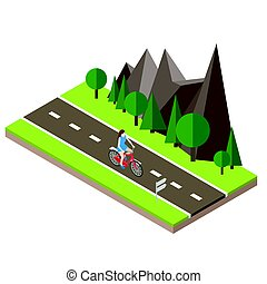 Isometric countryside. Summer road. Woman cycling on...