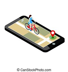 Isometric location. Mobile geo tracking. Female cyclist...