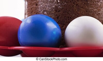 Easter cake and painted eggs - Rotation of the Easter pasque...