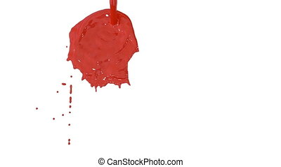 Flow of red paint splattering on white background and dripping down over white. 3d render with alpha mask for background, transition or overlays. Version 11