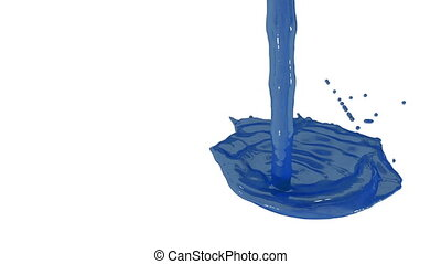Flow of blue paint splattering on white background and dripping down over white. 3d render with alpha mask for background, transition or overlays. Version 4