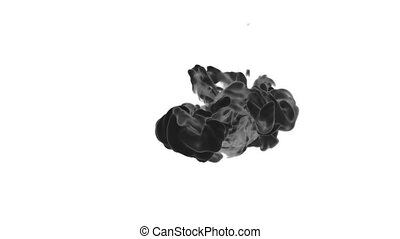 Cloud of Black Ink on white backgound underwater or smoke with alpha mask. Use for transitions, background, overlay and effects. 3d render VFX Ink background with very high detail Ver 2