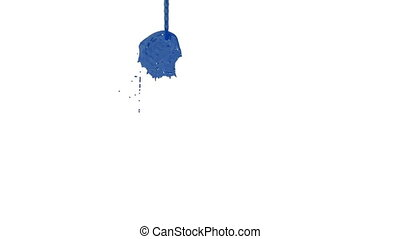 Flow of blue paint splattering on white background and...