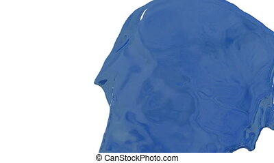 Flow of blue paint splattering on white background and dripping down over white. 3d render with alpha mask for background, transition or overlays. Version 7
