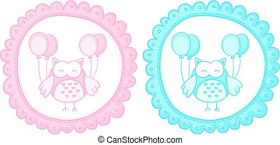 Baby owl baby shower sticker labels - Scalable vectorial...