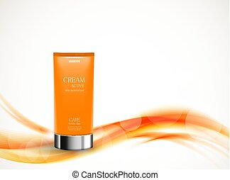 Skin moisturizer cosmetic design template with orange...