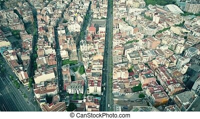 Central streets of Barcelona aerial view, Spain. 4K video -...