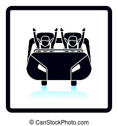 Roller coaster cart icon. Shadow reflection design. Vector...