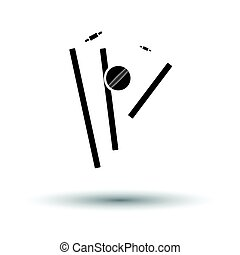 Cricket wicket icon. White background with shadow design....