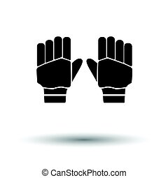 Pair of cricket gloves icon. White background with shadow...