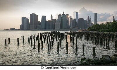 New york City by sunset - Timelipse of New york City bau the...