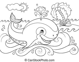 Blue whale on a background of ocean coloring for children...