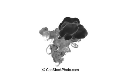 Cloud of Black Ink on white backgound underwater or smoke with alpha mask. Use for transitions, background, overlay and effects. 3d render VFX Ink background with very high detail Ver 14