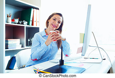 Beautiful business woman working at the home office
