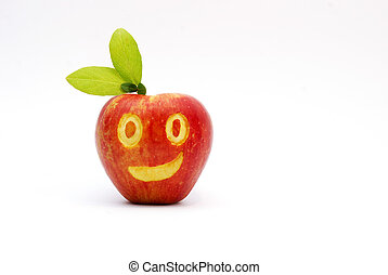 red apple, smiling face, food concept,image of a