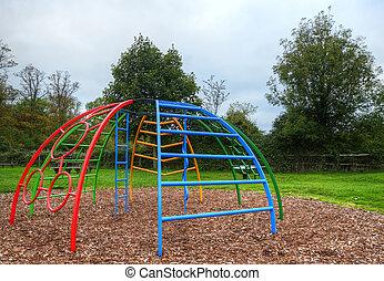 Empty children's playground in Autumn Fall - Empty...