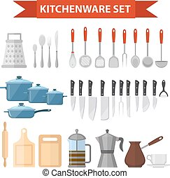 Cookware set icons, flat style. Kitchen utensils set isolated on white background. Cooking tools and kitchenware equipment. Vector illustration