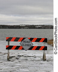 Road Closed sign on Great Slave Lake for the ice road