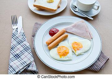 Breakfast in morning - Breakfast with fried egg, ham,...