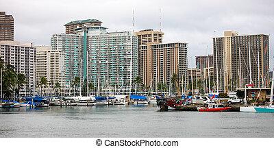 Ala Wai Boat Harbor, Hawaii - Boat Harbor in west Waikiki...