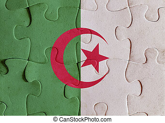 Algeria flag puzzle - Illustration of a flag of Algeria over...
