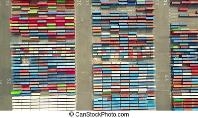 Aerial shot of big port container yard, top view. Export,...