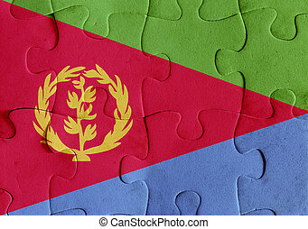 Eritrea flag puzzle - Illustration of a flag of Eritrea over...