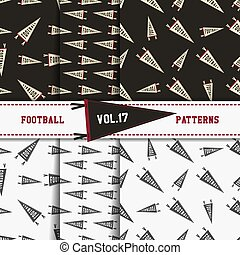 Set of american football patterns. Usa sports seamless background collection. Sport wallpaper with pennant in monochrome and color design. Vector soccer equipment graphic. Sketch, hand drawn theme