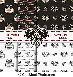 Set of american football patterns. Usa sports seamless background collection. Sport wallpaper with hammers in monochrome and color design. Vector soccer equipment graphic. Sketch, hand drawn style.