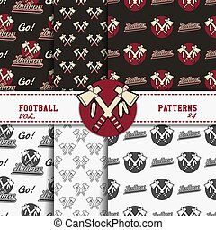 Set of american football patterns. Usa sports seamless background collection. Sport wallpaper with badge in monochrome and color design. Vector soccer equipment graphic. Sketch, hand drawn style.