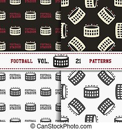 Set of american football patterns. Usa sports seamless background collection. Sport wallpaper with stadium in monochrome and color design. Vector soccer equipment graphic. Sketch, hand drawn style.